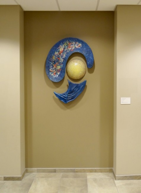 """""""All Things Came to Be"""" Commissioned by Emanuel Episcopal Church in St. Louis MO for their new lobby annex.   42"""" x 36"""" x 6"""" Ceramic and Glaze, 2013"""