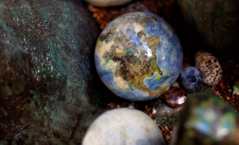 """Detail """" Rocks and Pebbles"""".  The """"Earth"""" Rock, an example of many novelty rocks the children can hunt for."""