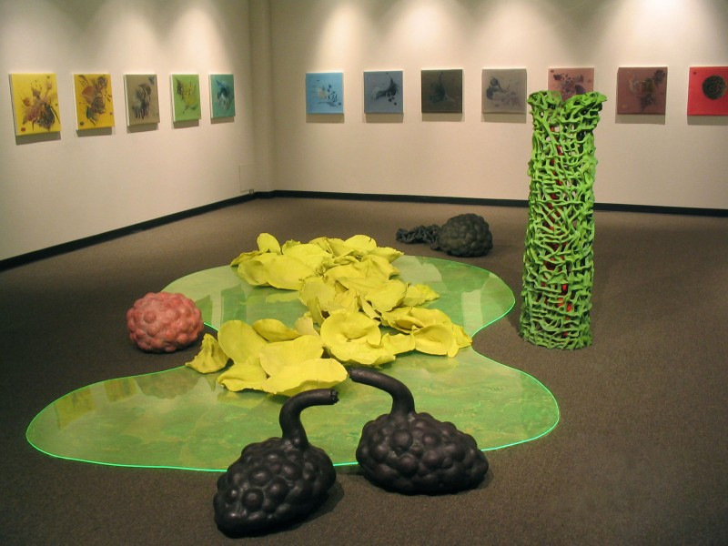 "CSUS Library Gallery, 2006. ""Chytrid Pond"".  Ceramic, Plexiglas, bubble wrap, drawings. (Paintings in back ground: Artist Hei Fok)"