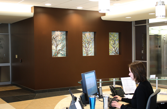 The Entry of Mid-America Transplant new corporate building, St. Louis, MO.  Inset glass and ceramic mosaic panels. 2010